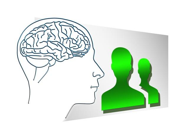 Face silhouette brain, computer communication.