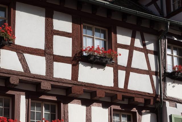 Fachwerkhaus truss flowers, architecture buildings.