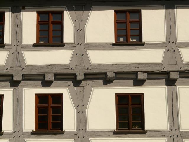 Fachwerkhaus window truss, architecture buildings.