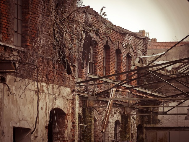 Factory demolition leave, architecture buildings.