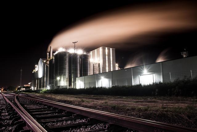 Factory night smoke, industry craft.