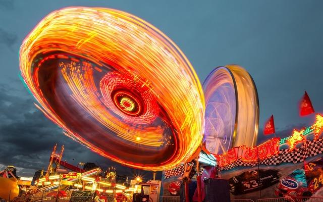 Fairground lights park.