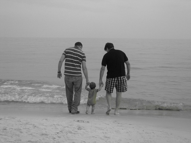 Family father beach, people.