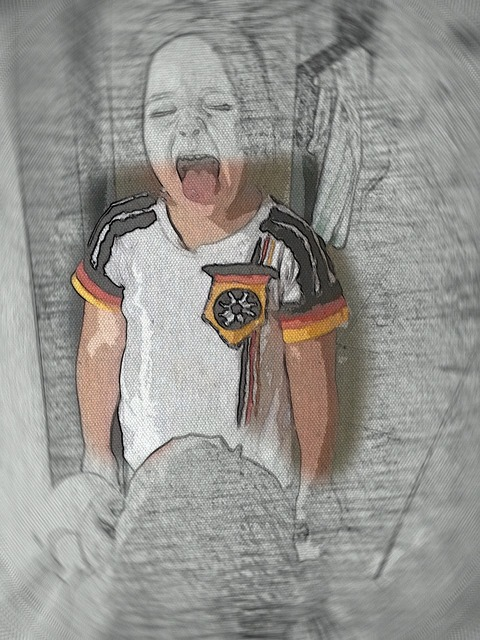 Fan football fan drawing.