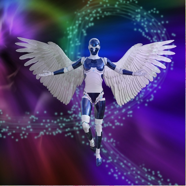 Fantasy robot wings, science technology.