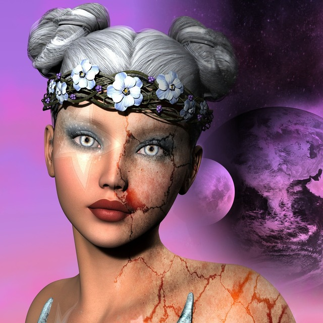 Fantasy surreal woman, beauty fashion.