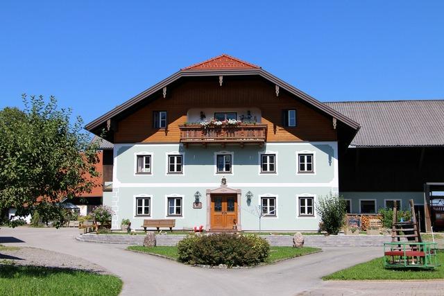 Farm home building, architecture buildings.