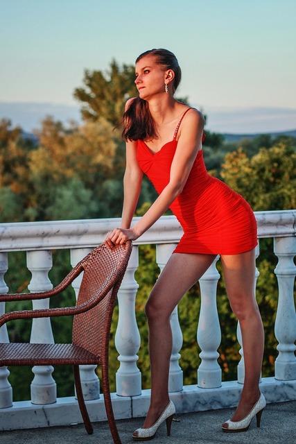 Fashion young woman red dress, beauty fashion.