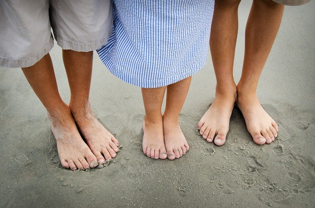 Feet barefoot beach, travel vacation.