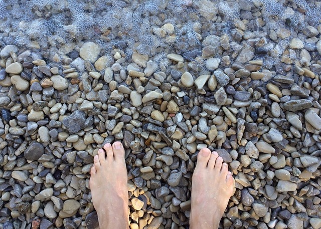 Feet barefoot beach, travel vacation.