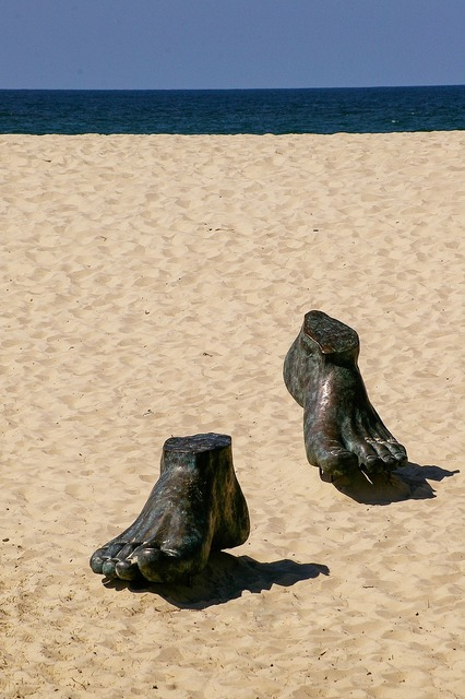 Feet sculpture art, travel vacation.