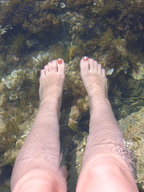 Feet water relax, nature landscapes.