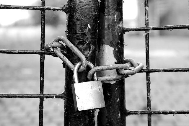 Fence castle chain lock.