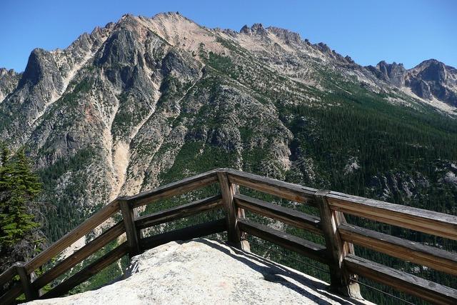 Fence mountain cascades, nature landscapes.