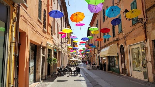 Ferrara umbrella decoration, transportation traffic.