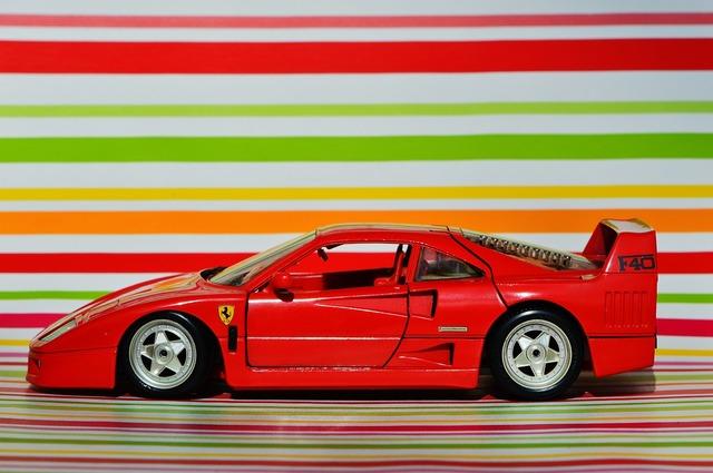 Ferrari racing car model car, transportation traffic.