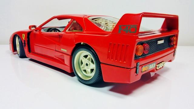 Ferrari red sports car, transportation traffic.