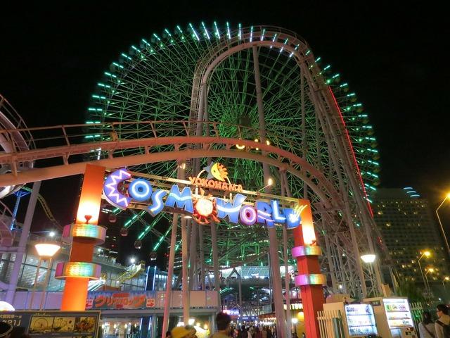 Ferris wheel amusement park night.