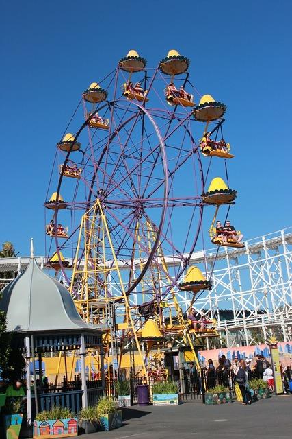 Ferris wheel amusement park tourist attraction.