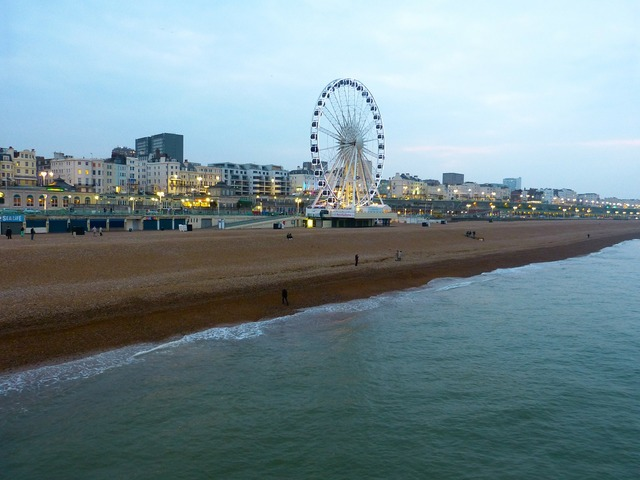 Ferris wheel beach brighton, travel vacation.