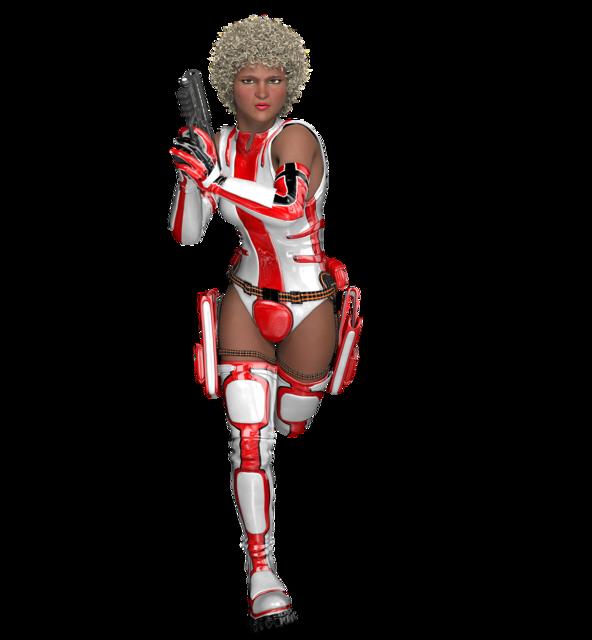 Fighting warrior woman, beauty fashion.