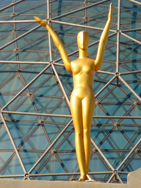 Figure golden glass dome.