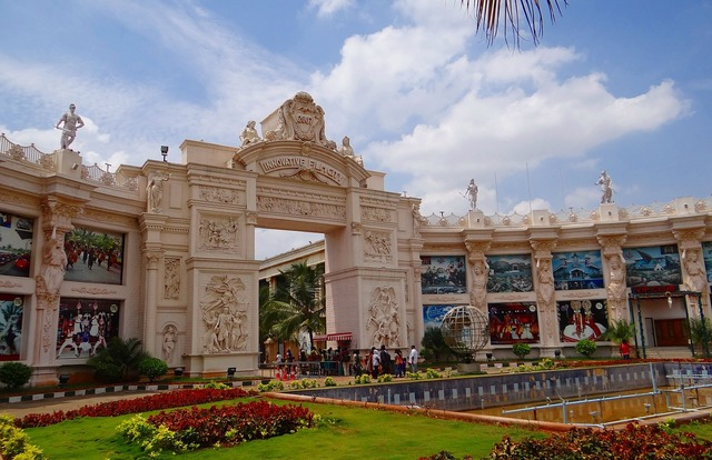 Film city entrance gate, architecture buildings.