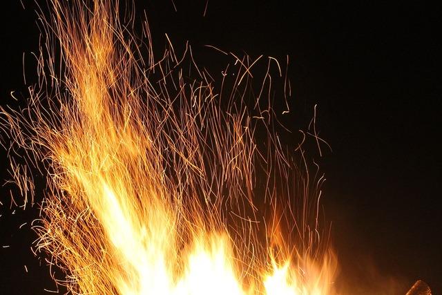 Fire at night long shutter speed.