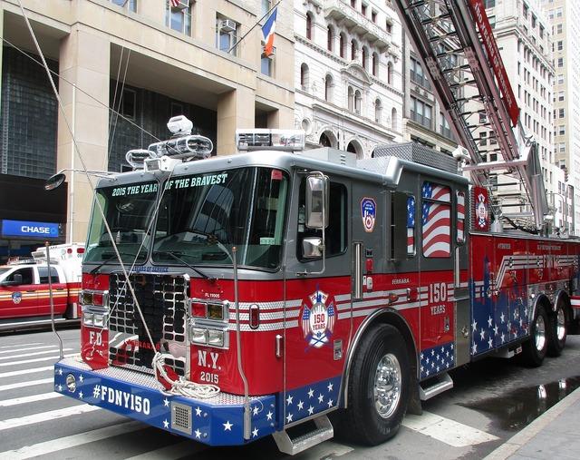 Fire blue light fire truck, transportation traffic.
