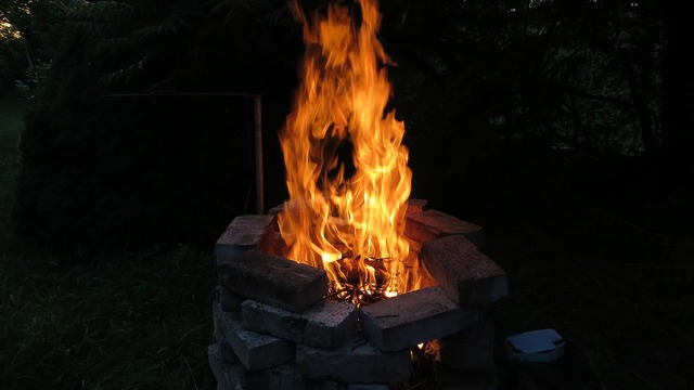 Fire camping night, travel vacation.