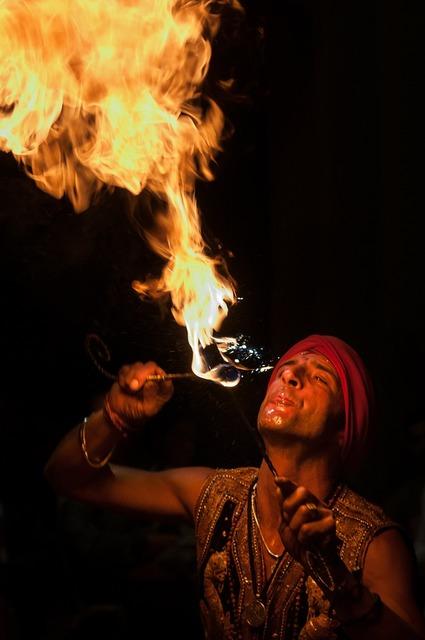 Fire eaters artist juggler.