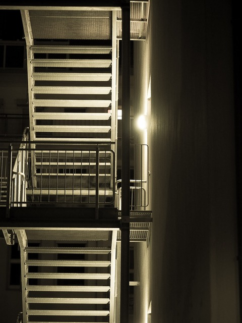 Fire escape stairs escape route.