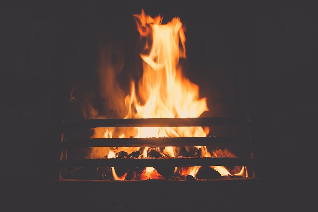 Fire fireplace flame.