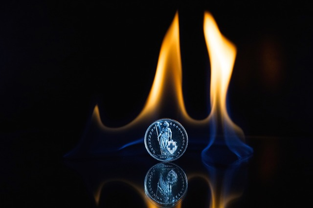 Fire flame coin, business finance.