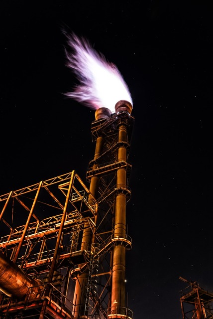 Fire flame flaring, industry craft.