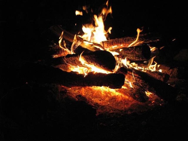 Fire flame night.