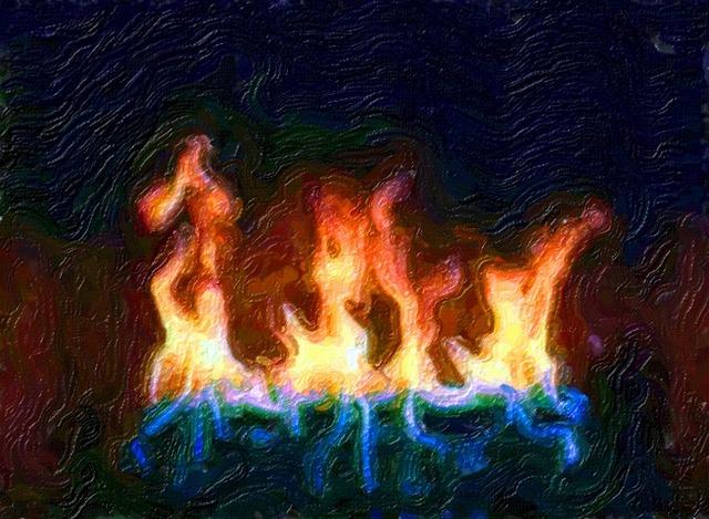 Fire flames blazing.
