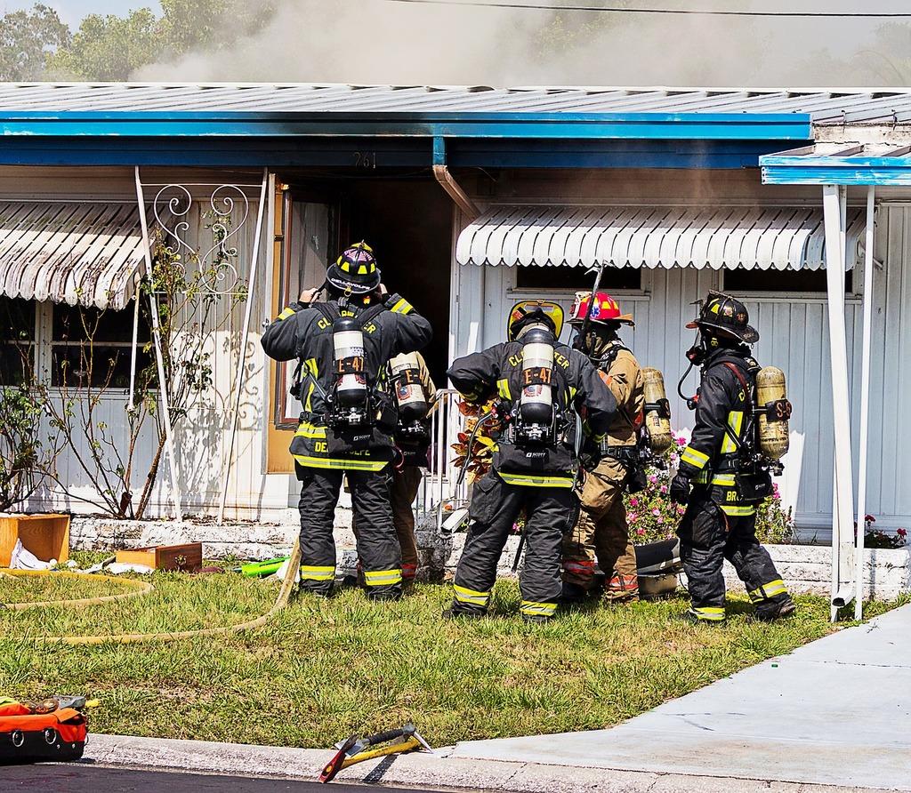 Firefighters, fire.