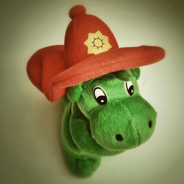 Fire grisu stuffed animal.