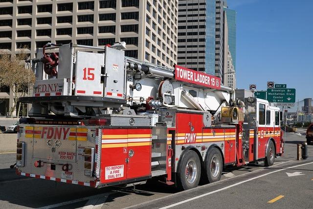 Fire new york usa, transportation traffic.