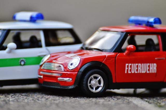 Fire police mini cooper, transportation traffic.
