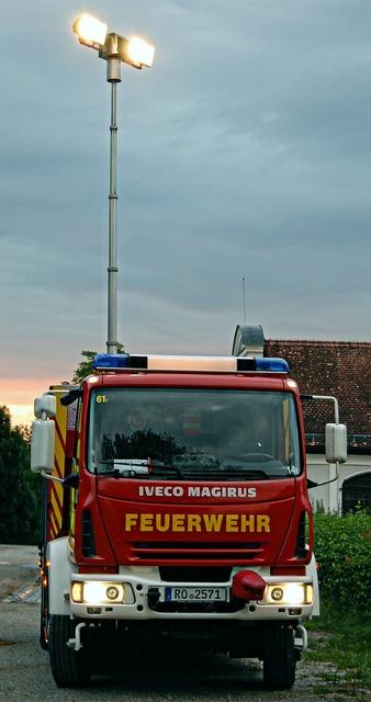 Fire rüstwagen blue light.
