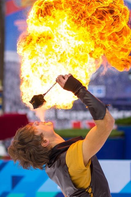 Fire show fire flame.