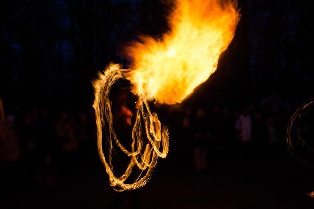 Fire show flame evening.