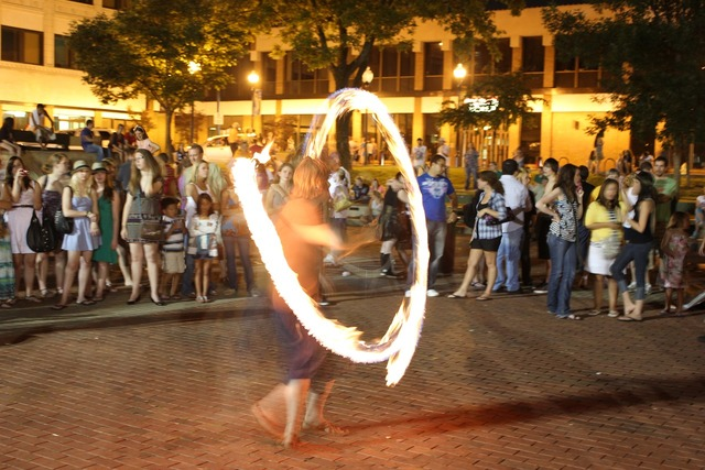 Fire show slow motion, people.