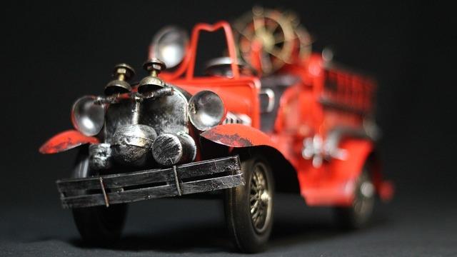 Fire truck cars model, transportation traffic.