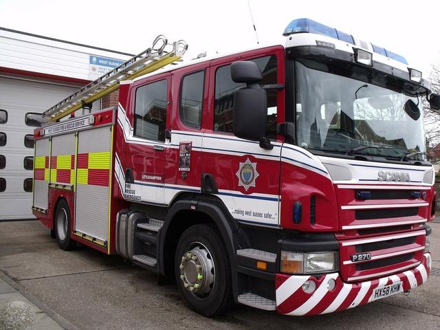 Fire truck engine, transportation traffic.