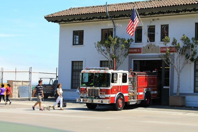 Fire truck firefighters barracks, transportation traffic.