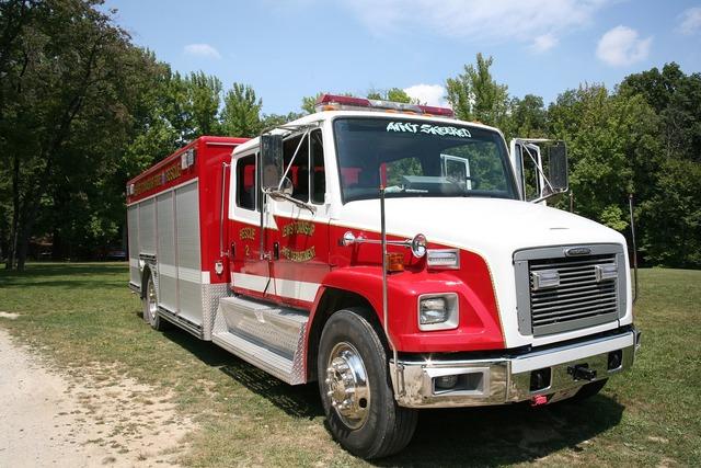 Fire truck red, transportation traffic.