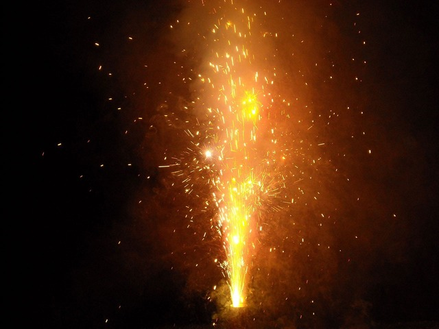 Fire works forth.